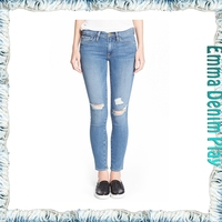 Manufacturer New Model Distressed Process Ladies Bleaching Denim Skinny Jeans Wholesale