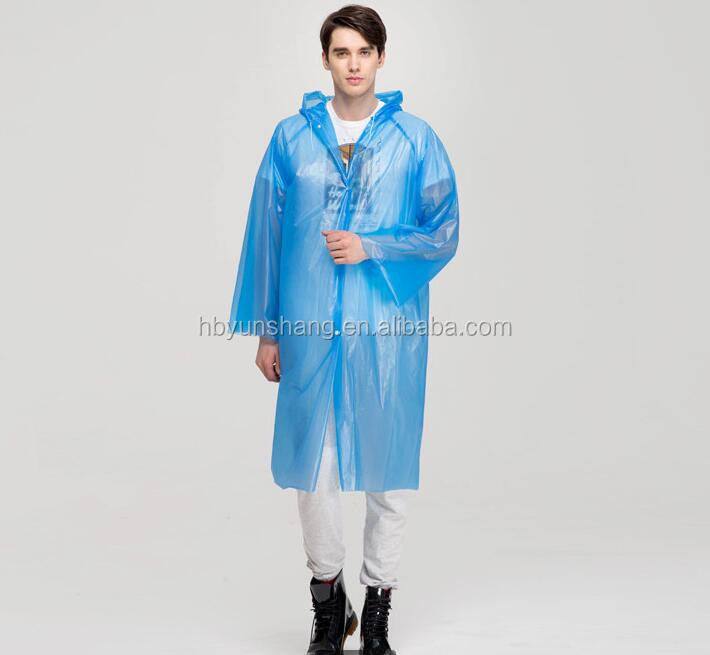 YunShang PE/PEVA Fashion Long Raincoat With Hood Rain Poncho