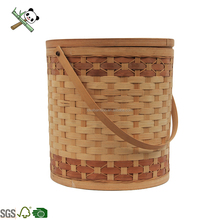 Hand Weave Flexible Vintage Woven Fruit Rattan Bamboo Storage Basket With Lid