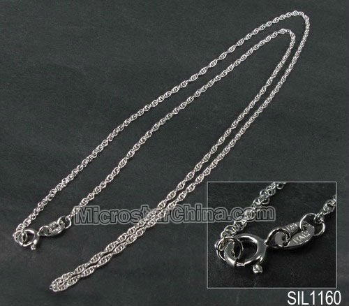 Hot selling 925 sterling silver jewelry with clasp approx 3mm wide 60cm long