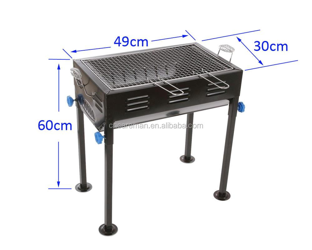 Medium sized Japanese Style Iron Charcoal Barbecue Grill, Rectangle BBQ Grill w/Frying Pan and Tongs OEM Orders Accepted
