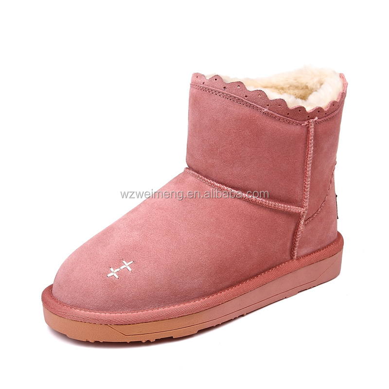 faux fur lining soft sole microwavable fleece slipper boots for lady