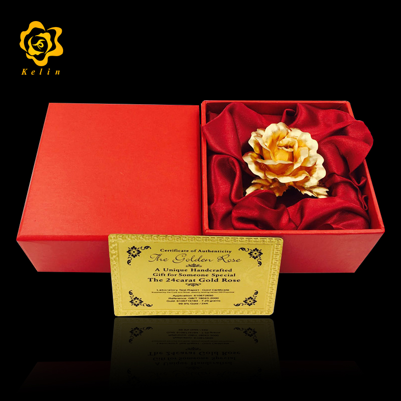 Factory 8cm 24K Gold Foil Rose Brooch The Decorative Flower for Party and Activities