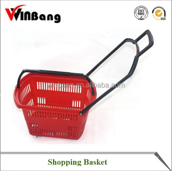 Winbang Plastic Shopping Basket with Handle and Wheels