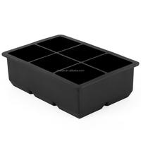 square shaped Food grade silicone ice cube tray black color FDA and LFGB standard