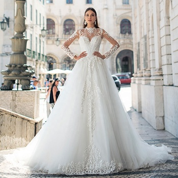 Long Sleeve Wedding Dresses Ball Gown Bridal Gown 2019 Africa Wedding Gowns Lace Bridal Wedding Dress Vestido de novia A258