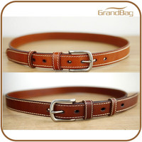 Thicken Cattle Geunine Leather Men Belts Casual Thread Decoration Slim Jeans Leather Belt