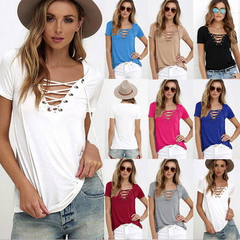 Sexy Bandage T Shirt V Collar Women Short Sleeve Tee