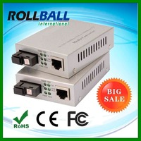 media converter 10/100/1000M Multimode 850nm SC dual fiber external power type Wall mount utp to fiber