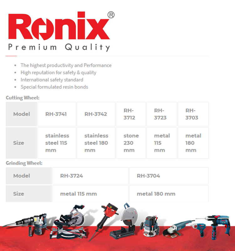 RONIX High quality New design high speed abrasive angle cutting and grinding wheel for mentel RH-3701~RH-3742 in stock