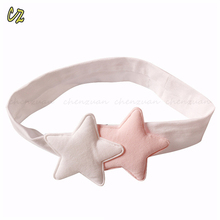 Lovely baby girls adjustable elastic cotton hair headbands with star