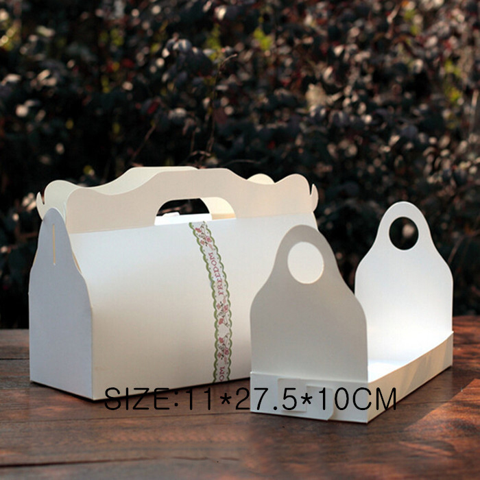 Kraft Boxes Caixa Gift Craftspaper Box Craft White 11*27.5*10cm 20pcs/lot Packaging Handle Wedding Favour Cake Sweety Party