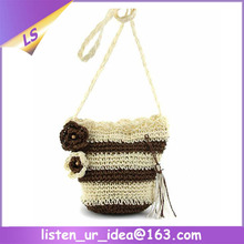 Hot selling women's four season style straw crochet shoulder bags