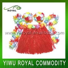 Luau Dancing Red Polyester Grass Skirt Hawaii Flower Lei Set