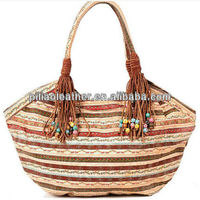 2013 Original Designer stripe floral handbag beach with leather and breads