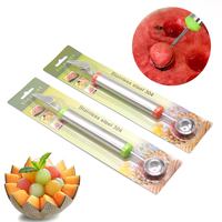 Creative Watermelon Melon Fruit Carving Knife Cutter Gadgets Ice Cream Dig Ball Scoop Spoon Dishes Tool Random Color