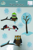 Christmas felt owl birds wall decal kids stickers