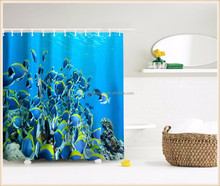 Home using digital printing bathroom polyester fish 3d curtain