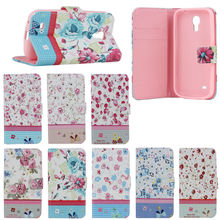 Elegant Flower tpu cover leather case for Samsung S4 Mini with stand