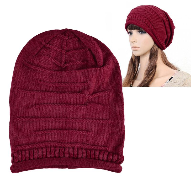 Winter Warm Oversized Ski Cap Women Knit Baggy Beanie Hat