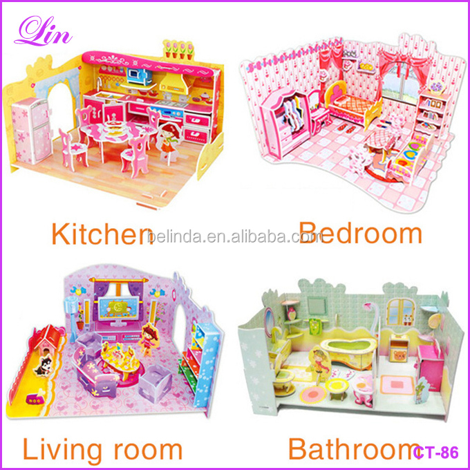 Kids toys puzzle Bedroom Kitchen Living room Bathroom paper model building kit toys gift for child