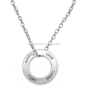 Engraved Name Circle Tags Necklace Whole Sale Factory Jewelry