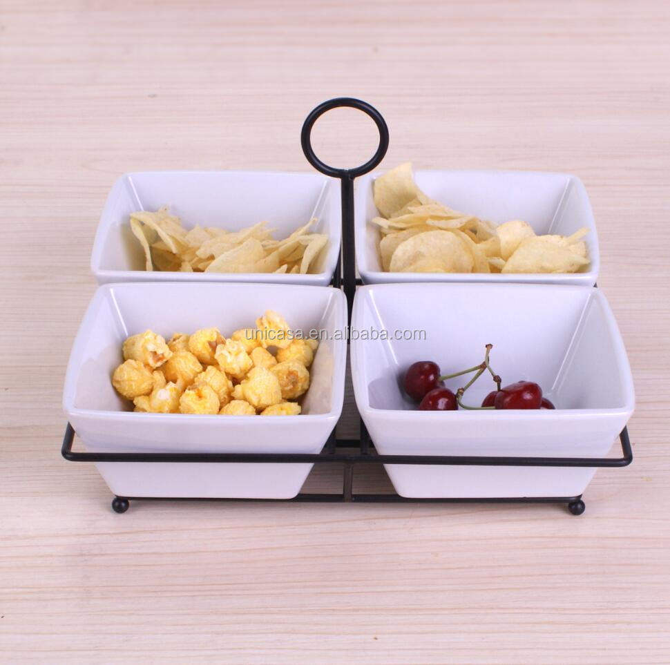 UNICASA Wholesale Set of 4 Square White Porcelain Ceramic Snack Bowl with balck metal stand
