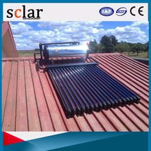 Rooftop pressurized solar water heater with over a dozen vacuum tube