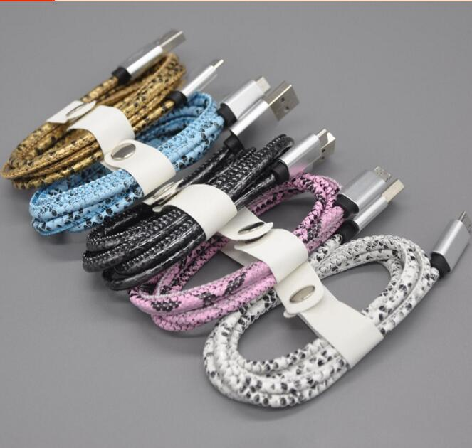 New Luxury 1m 2A Snake Leather Aluminum Metal Plug Micro USB Cable For iphone Samsung HTC v8 v9 Cable CB13