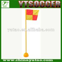 PVC tube football corner flags witn ABS base that require sand for stability