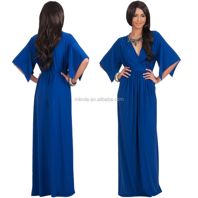 OEM Clothing Factory Wholesale CUSTOM Womens Long Kaftan Short Sleeve Empire Waist Flowy V-neck Maxi Dress