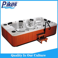 "Combo Masssage air whirlpool massage type and corner drain location swim spa with 17""TV outdoor spa bathtub"