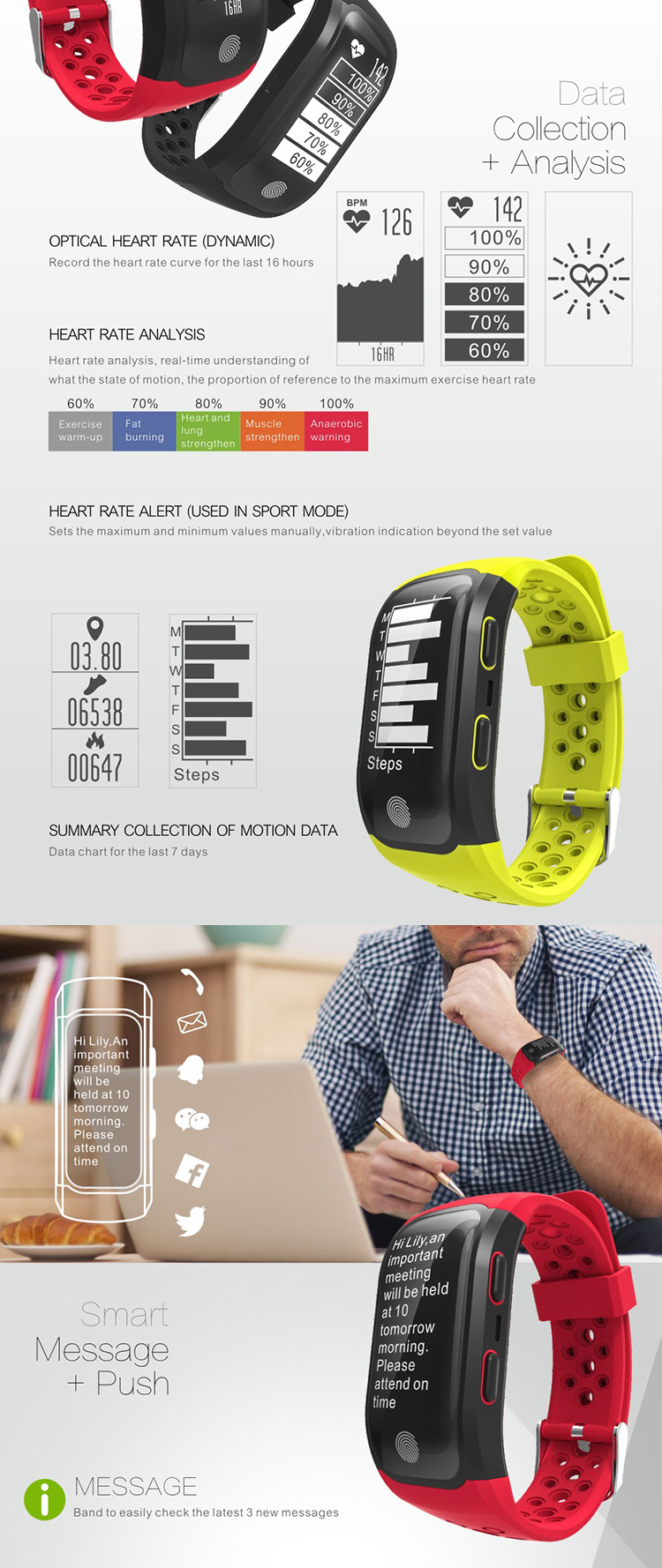 IP68 Waterproof Swimming Sport GPS Smartband with heart rate monitor