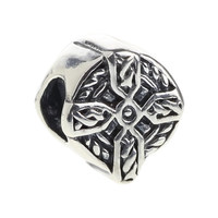 Wholesale Celtic Braided Cross Bead 925 Sterling Silver Charm Jewelry for European Bracelet