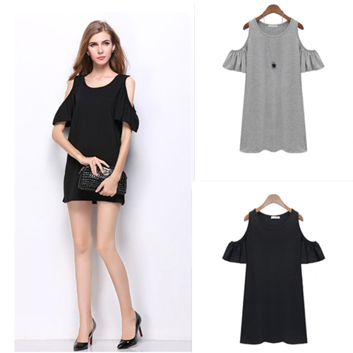 Plus Size Women Summer Dresses Ladies Sexy Short Sleeve Dress 2015 Woman Casual Solid Jersey O-neck Tops Clothes Vestidos SLYQ3