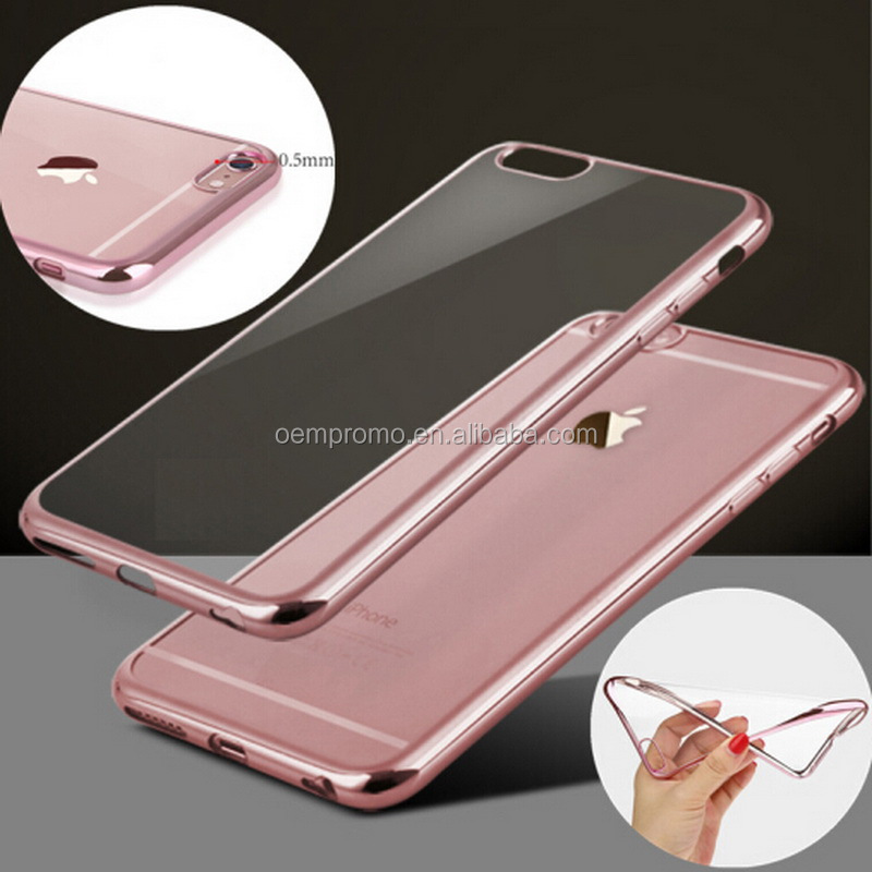 Ultra-thin Metal Plating Crystal Clear Phone Case For Iphone Transparent TPU soft Phone Bag Covers
