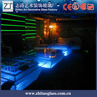Glass furniture LED top glass tea table price for bar