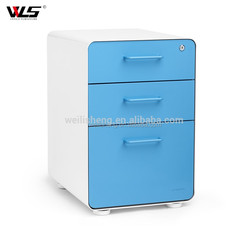 High Quality Durable 3 Drawer Storage Cabinet Mobile Metal Filing Cabinets with Wheels