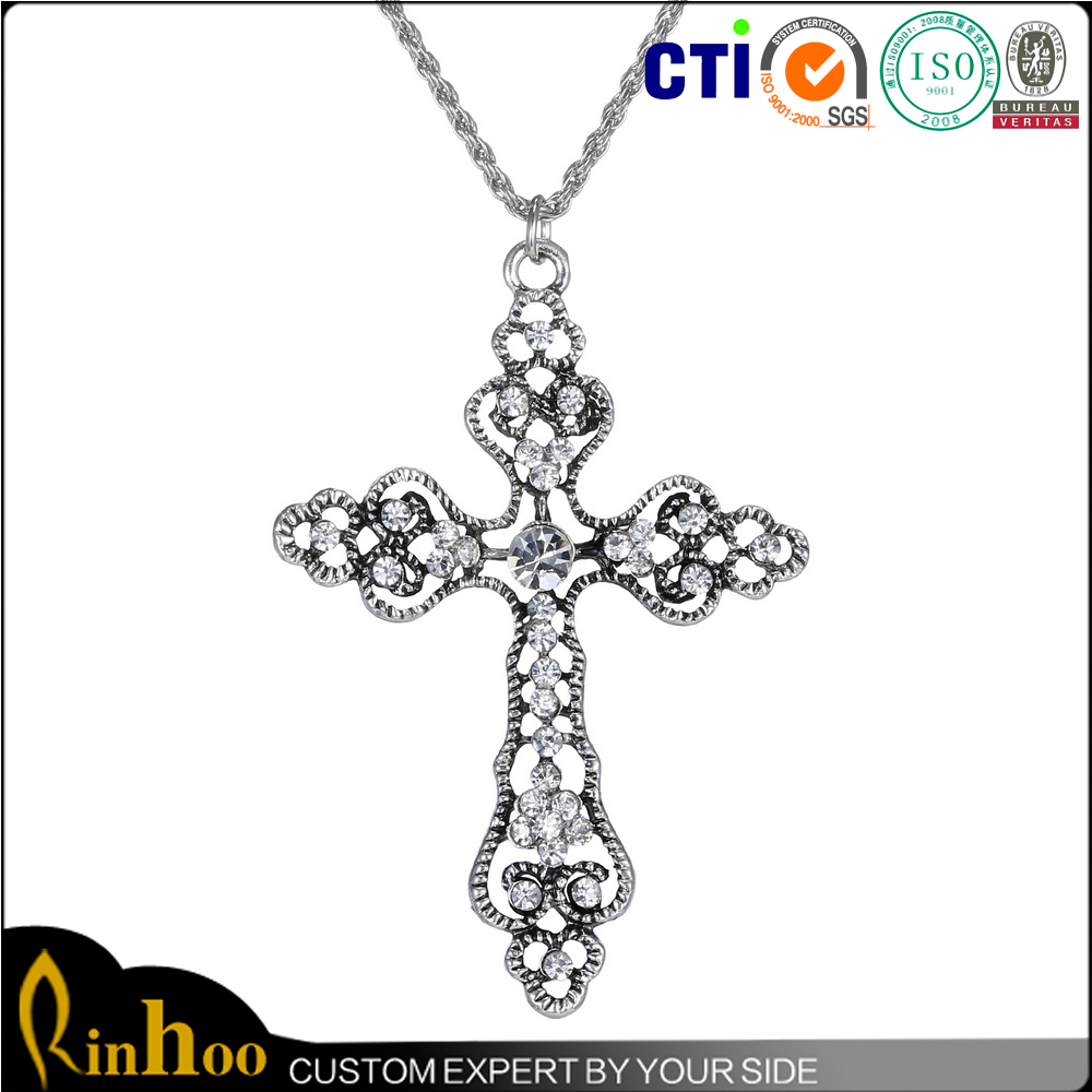China Factory Wholesale On Factory Price Jewelry, Fashion Cross Pendant Necklace With Inlay Rhinestone Crystal Cross