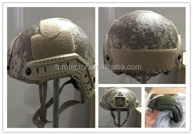 NIJ IIIA Fast high cut .44 tested military camouflage bulletproof helmet
