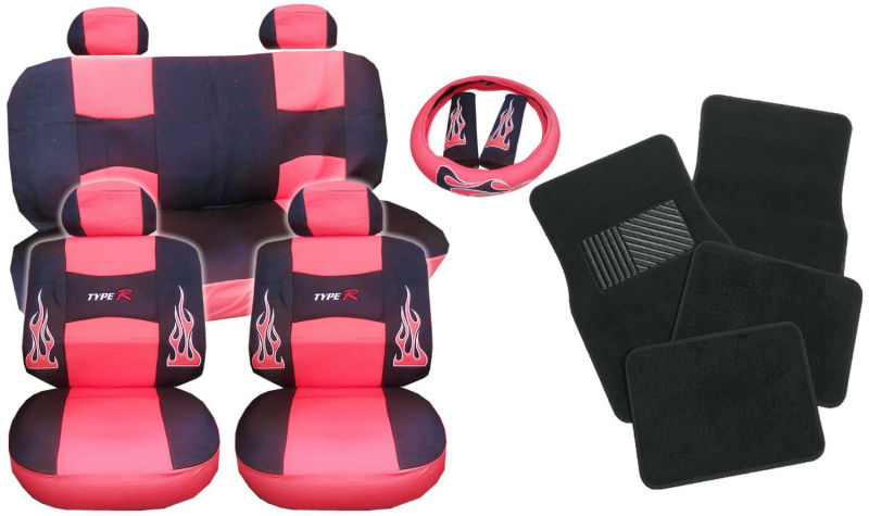 17pc Flames Red Peach and Black Type R Racing Low Back Seat Covers
