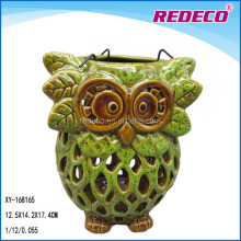 Ceramic garden owl shaped candle lantern
