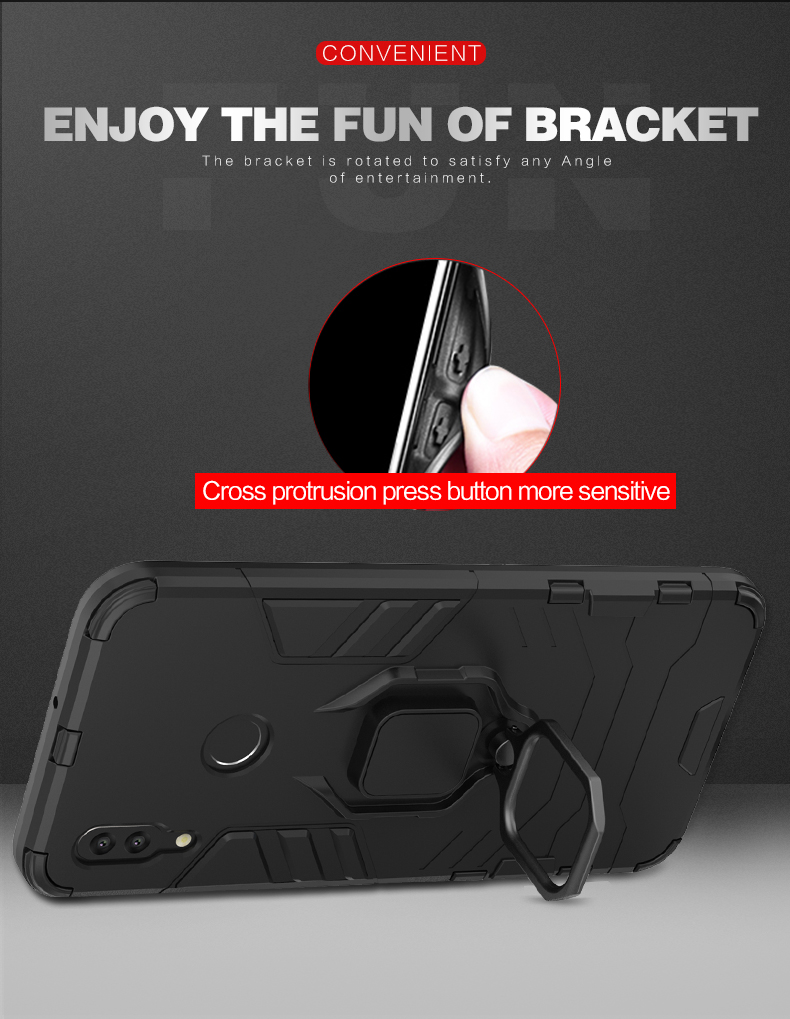 Latest Design 360 Degree Rotating Ring Holder Magnetic Shockproof Rugged phone case for Huawei P Smart 2019 Case
