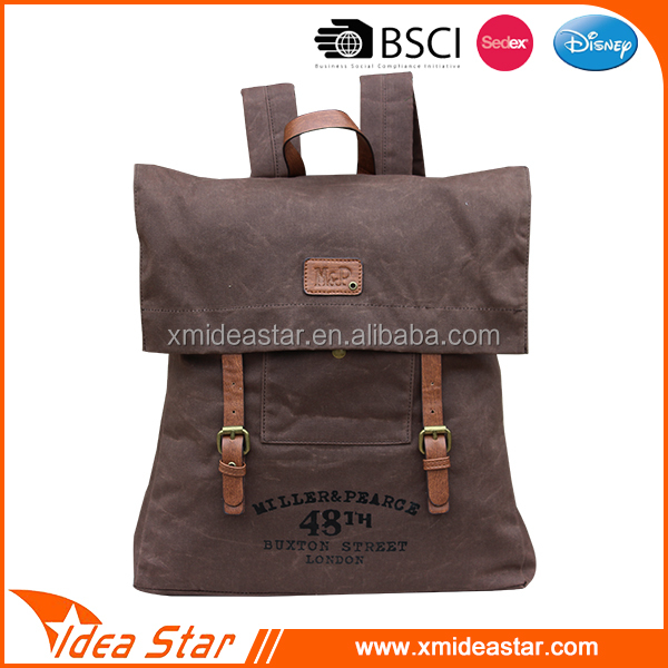 Waterproof school custom waxed canvas backpack wholesale