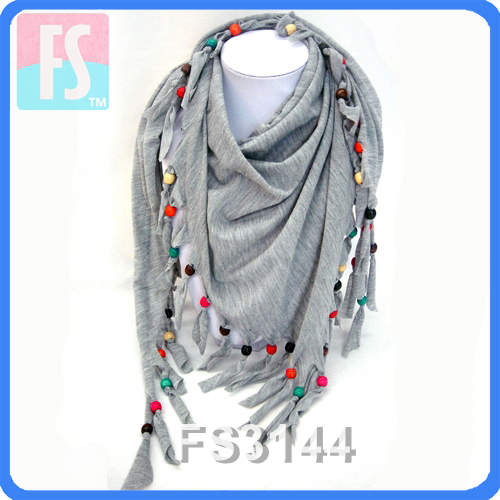 Fringe jersey triangular scarf with colorful wooden beads accessories