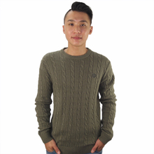 hot sale winter oem grey cable v-neck heavy knitted winter pullover sweaters for men