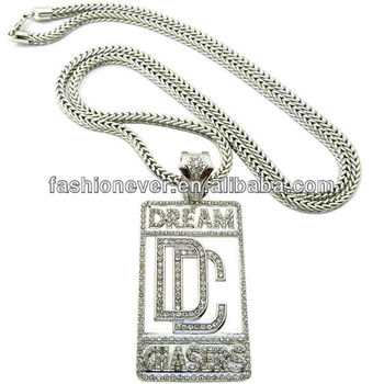 "New Iced Out DREAM CHASERS Pendant 3mm&36"" Franco Chain Hip Hop Necklace"