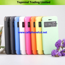 Open Windows Book Type Leather Case with Transparent PC Back Cover for iPhone 5S