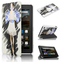 "7"" Tablet case for Kindle New Fire 7 2015 Ultra Slim PU Leather Magnetic Case with Cute Girl picture"