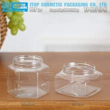cheap stuff hexagon jar TJ-HE300 300g cosmetic container clear PET plastic jars food grade with aluminum cap